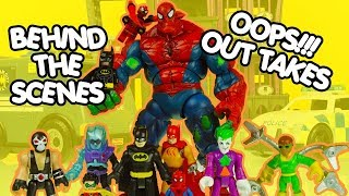 TOY VIDEO OUT TAKES & BEHIND THE SCENES superhero toys batman & spiderman things going wrong