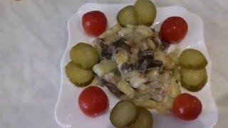 жареная картошечка с грибами и сметаной