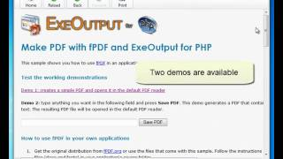 Make PDF with PHP and ExeOutput for PHP