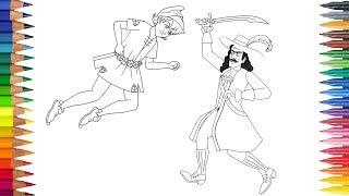 Peter Pan y Capitán Hook dibujar y pintar