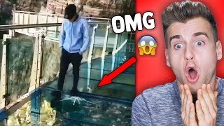 Glass Bridge Cracks Under Tourist's Feet!