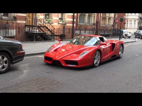 Red Ferrari Enzo in Knightsbridge, London - Driving, Engine Sounds