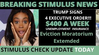Breaking! $400 a week second stimulus package| Trump Signs 4 Executive orders! NO STUDENT LOANS!