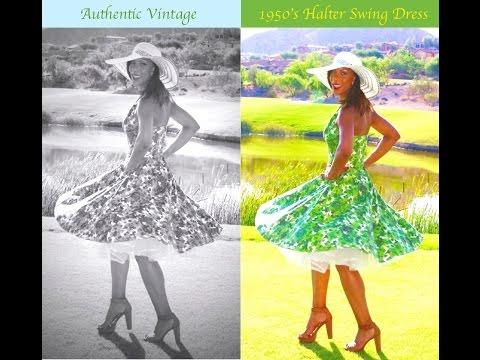 Authentic  Vintage 1950's Halter Swing  Dress
