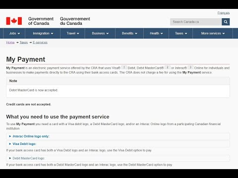 How to Pay Personal taxes using My Payment from Canada.ca
