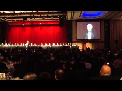 Sandy Koufax introducing Clayton Kershaw at the 2014 BBWAA Dinner