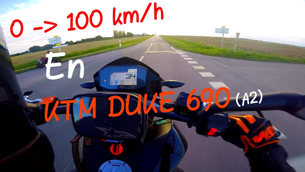 0 100 km h ktm duke 690 a2 youtube. Black Bedroom Furniture Sets. Home Design Ideas