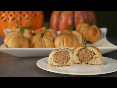 Pumpkin Shape Meatball Biscuits Recipe Video