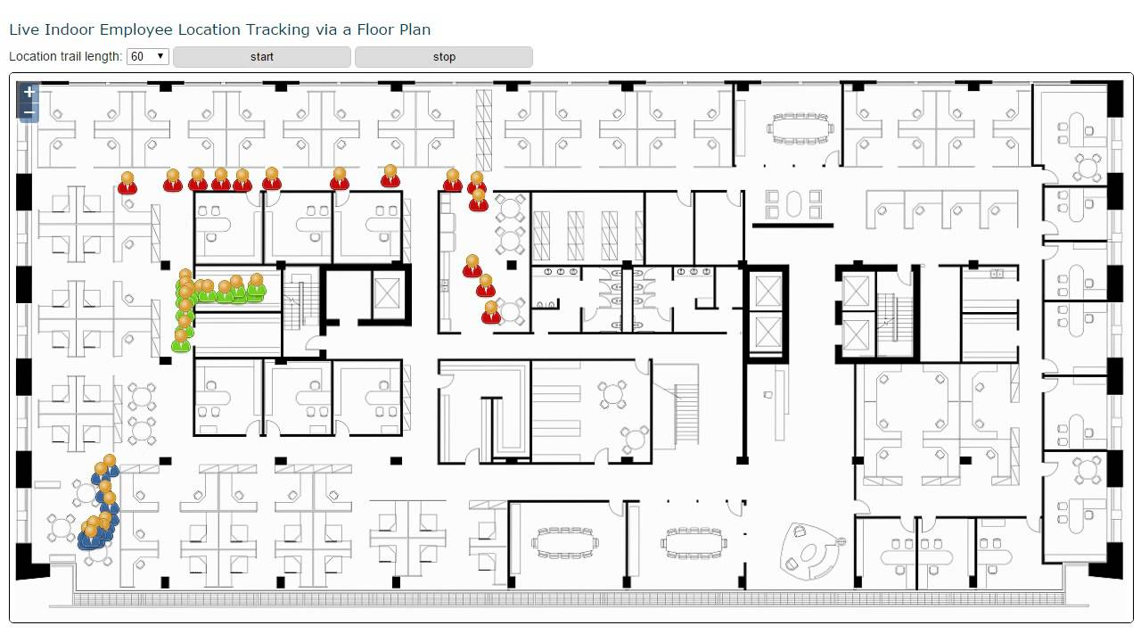Live Indoor Employee Location Tracking Displayed On A