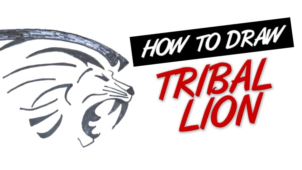 0dfde3a5d How to draw a lion head tribal tattoo design #4 - YouTube