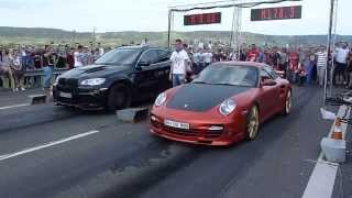 Drag Racing CAMPIA TURZII BMW X6 HAMANN TYCOON vs PORSCHE 911 Turbo (1200HP)
