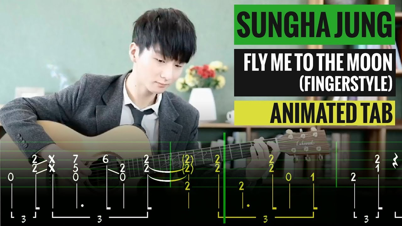 Sungha Jung - Fly me to the moon - Guitar lesson tab - Fingerstyle guitar -  Easy guitar tabs