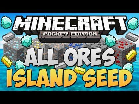 DIAMOND SEED & All Ores Under Island - Minecraft Pocket Edition