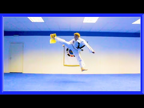 Taekwondo Jump Spin Hook Kick Air Break
