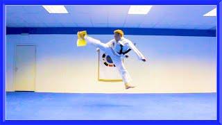 Taekwondo Jump Spin Hook Kick Air Break
