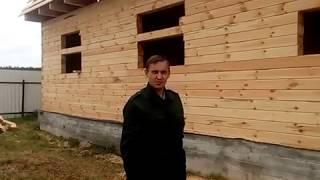 видео Брусовой дом 7х8 с ломаной крышей