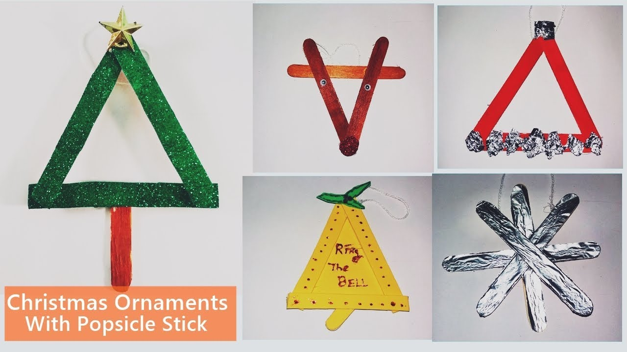Popsicle Stick Christmas Tree Ornaments.Diy 5 Easy Christmas Ornaments With Popsicle Stick Christmas Craft Christmas Tree Decoration