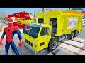 Fun LEARN COLORS Trash Truck & Trailer Cars with Superheroes 3D Cartoon For Kids And Children