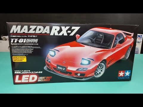 Tamiya TT-01 mazda RX7 1/10 rc Unboxing and review 2007 #58382