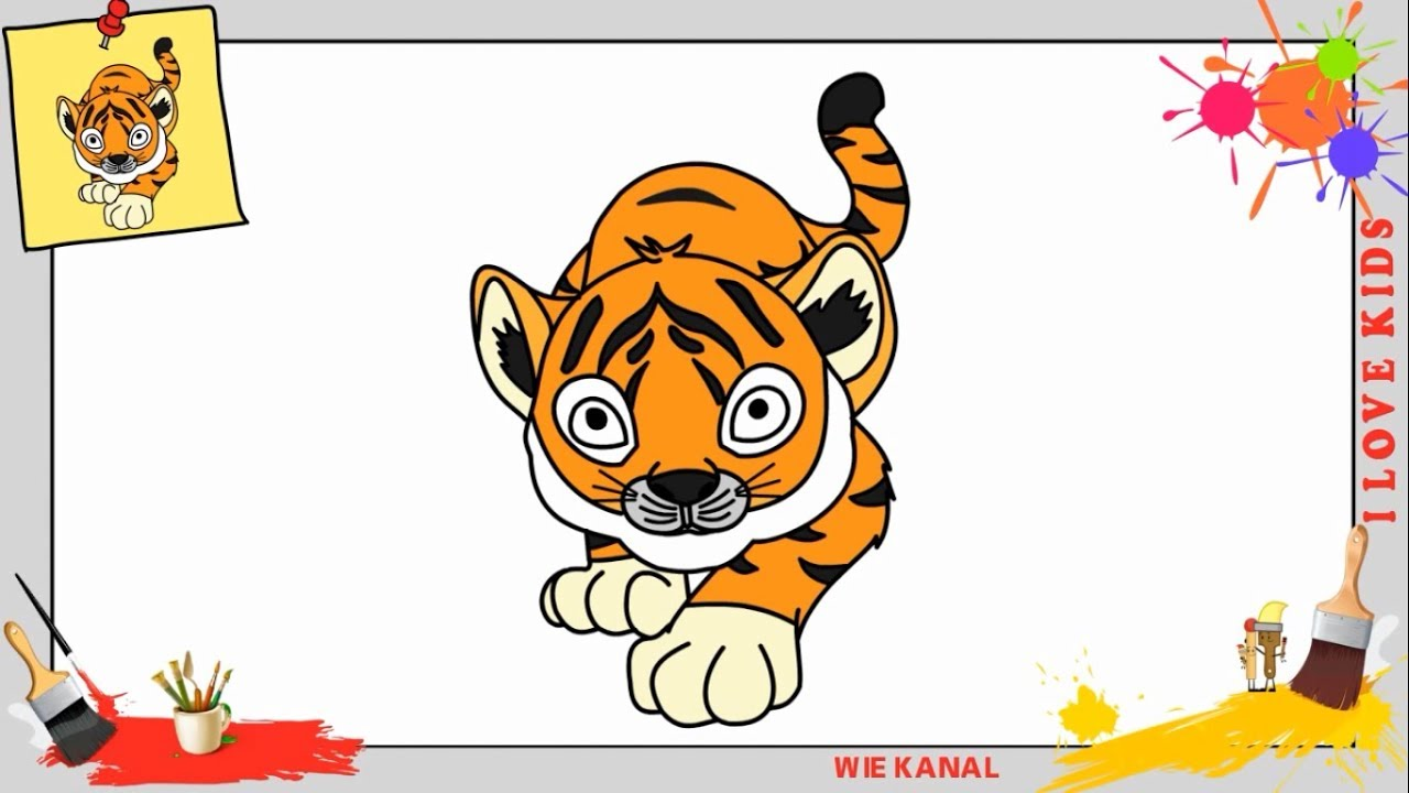 Tiger Zeichnen Schritt Für Schritt Für Anfänger Kinder Zeichnen Lernen