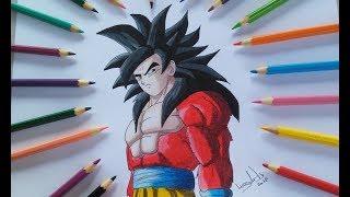 Como desenhar Goku SSJ4 Passo a passo - How To Draw Goku SSJ4.