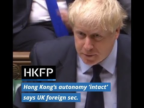 Uk Foreign Sec Boris Johnson Hong Kong Handover Agreement Valid