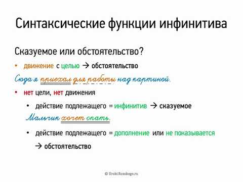 Как определить синтаксическую роль инфинитива в предложении