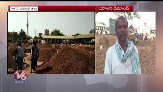 Groundnut Farmers Demands Minimum Support Price In Nagarkurnool   Farmers Protest At Market  V6 News