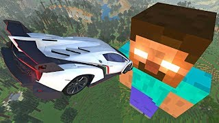 BeamNG.drive - Cars Jumping Over Giant Herobrine in Minecraft (Beamng Minecraft Mod)