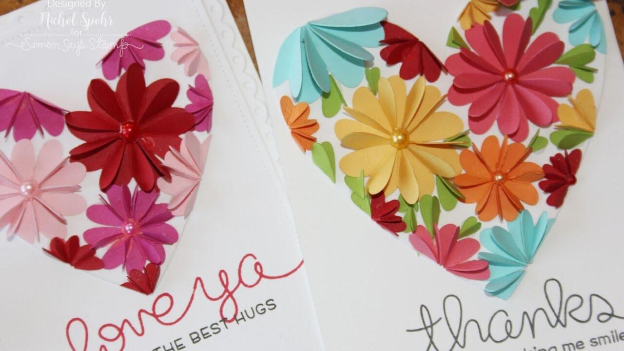 Die Cut Heart Flowers Cards