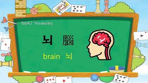 Korean TOPIK 2 Vocabulary 49 - 👩‍🦰👩‍🦱  뇌腦 (brain)