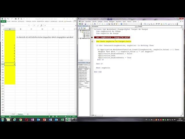0041: Excel VBA Doppelte Eingaben in einem Bereich verhindern