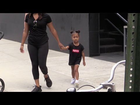 Cute North West leaving her apartment by walk in New York