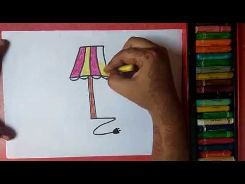 """How to draw LAMP from alphabet """"L"""" step by step very easily for kids"""