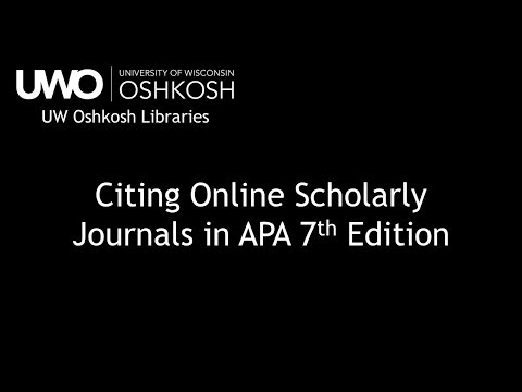 Citing An Online Scholarly Journal Article In APA 7th Edition