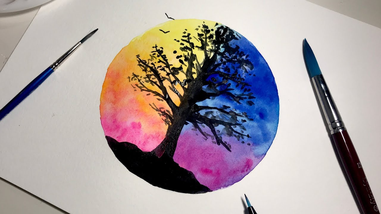 Simple Watercolor Painting For Beginners Time Lapse Day Vs Night Sky Youtube