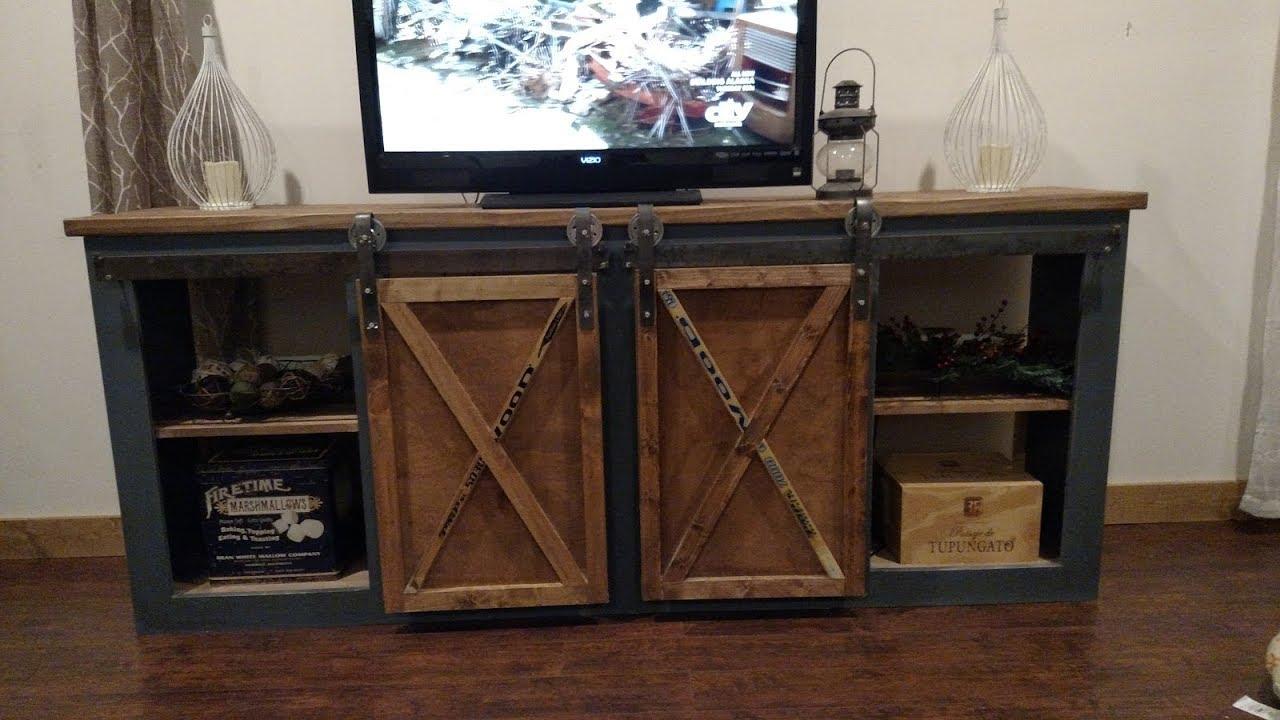 media console barn doors youtube. Black Bedroom Furniture Sets. Home Design Ideas