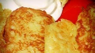 Драники с чесноком и сыром, легкий видеорецепт.