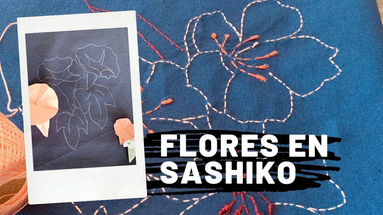 Flores en Sashiko · como incluir figura en bordado tradicional japones ·