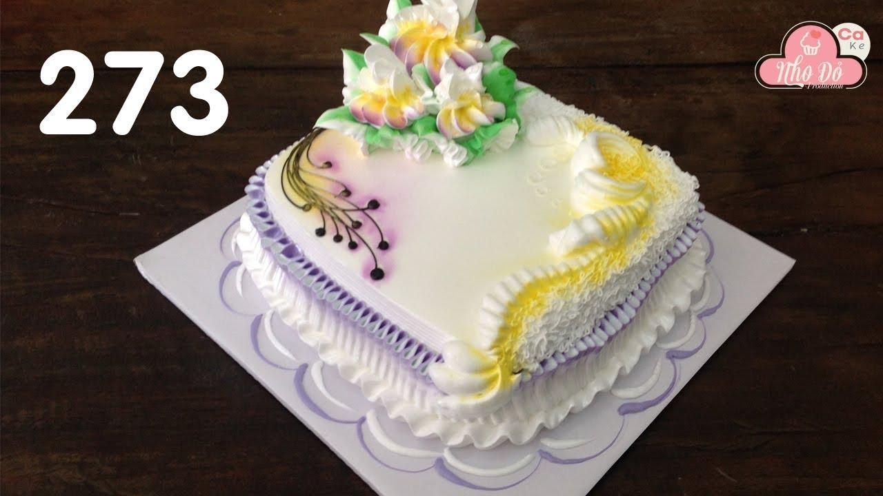 cake square Decorated with purple and gold – bánh kem hình vuông đẹp (273)