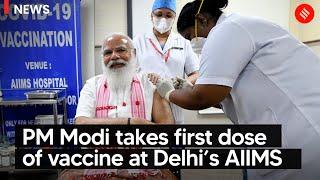 PM Modi takes first dose of vaccine at Delhi's AIIMS