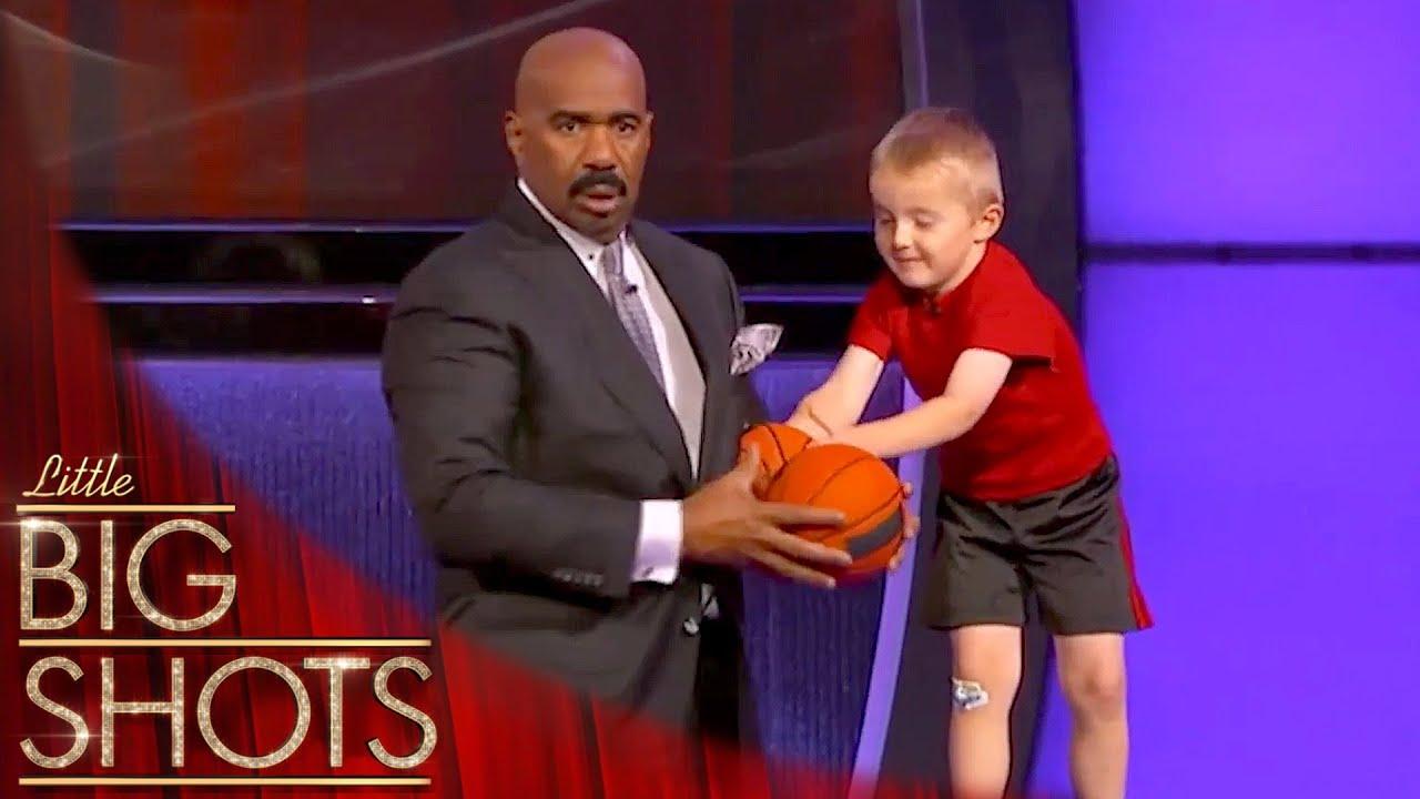 Titus Surprises Steve Harvey With Incredible Trick Shots   Little Big Shots