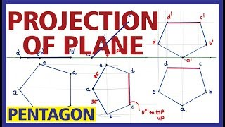 (Hindi) Projection of plane PENTAGONE Inclined to HP & Line CD is parallel to HP & VP( EC CE TW)