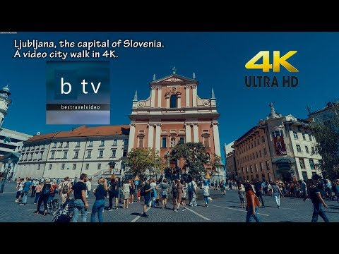 Ljubljana, the capital of Slovenia. A video city walk in 4K.