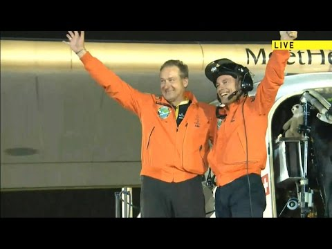The Solar Impulse 2 solar-powered plane completes its trip around the world