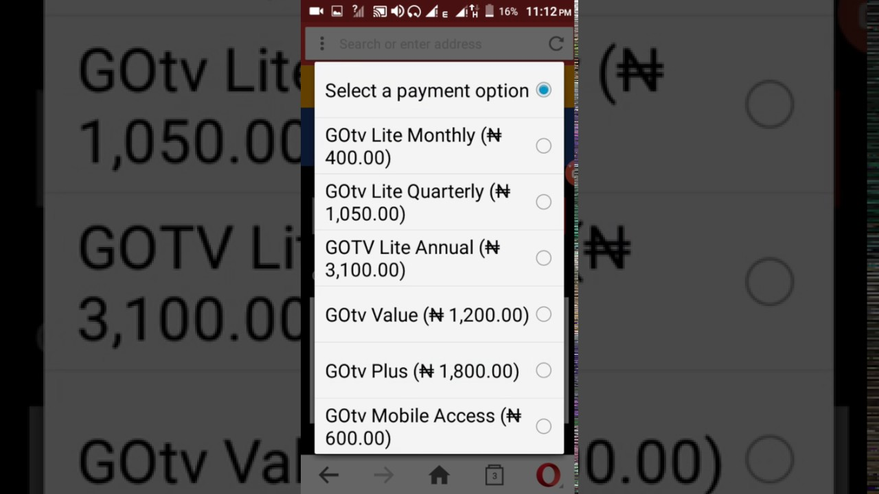 How to use #400 NAIRA only to sub for gotv for every channel