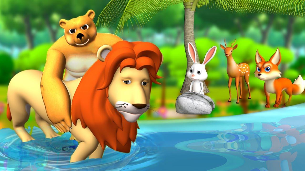 Download సింహంని కాపాడిన ఎలుగుబంటి - Bear Saves Lion Telugu 3D Moral Stories   Fairy Tales   JOJO TV
