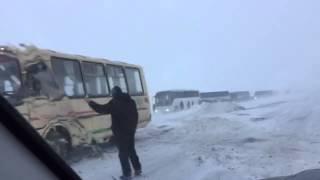 Буран трасса Астана-Караганда, декабрь 2015