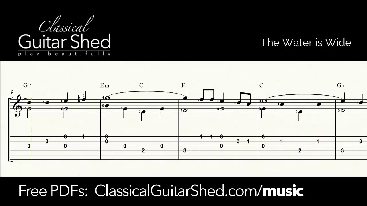 The Water is Wide for Solo Guitar - Free Sheet Music