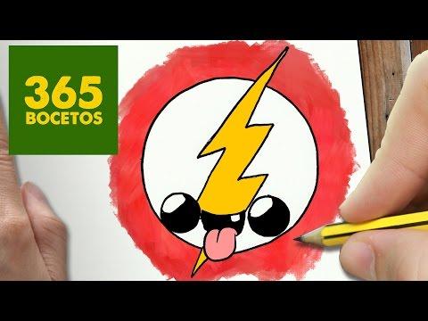 como dibujar escudo flash kawaii paso a paso   dibujos